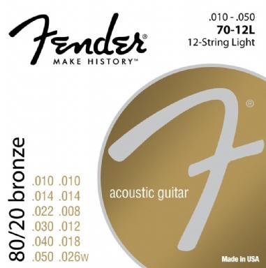 Fender 80/20 Bronze Acoustic Strings Ball End 70L .012-.052 Gauges String Sets - Akustik Gitar Teli