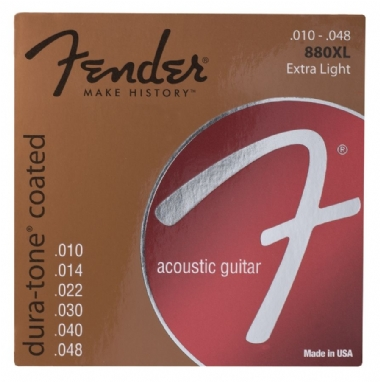 Fender Dura-Tone Coated 80/20 Acoustic Guitar Strings Ball End 880XL Gauges .010-.048 String Sets - Akustik Gitar Teli