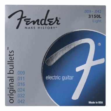 Fender Original Bullets Guitar Strings Pure Nickel Bullet End 3150L Gauges .009-.042 String Sets - Elektro Gitar Teli