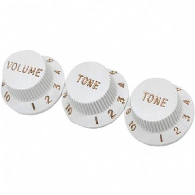 Fender Volume Tone Knob Set Strat White Set of 3 Knobs Kits & Pick Up Covers Yedek Parça