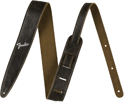 "Fender 2"" Distressed Leather Black Strap"